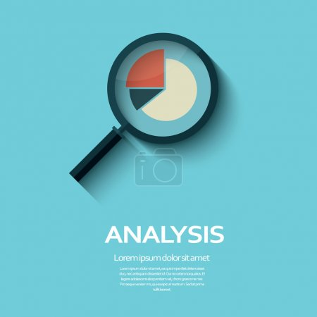 Illustration for Business Analysis symbol with magnifying glass icon and pie chart. Eps10 vector illustration - Royalty Free Image