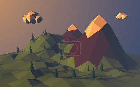Illustration for Low poly mountains landscape vector background. Polygonal shapes peaks with snow on top and trees around. Sunset wallpaper. Eps10 vector illustration - Royalty Free Image