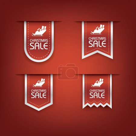 Collection of Christmas sale ribbon vector. Holiday discounts banners with santa on sleigh. 3d bookmarks elements.