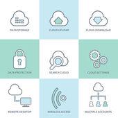Cloud computing line icons set Flat design elements Database communication technology hosting services server computer symbols Eps10 vector illustration