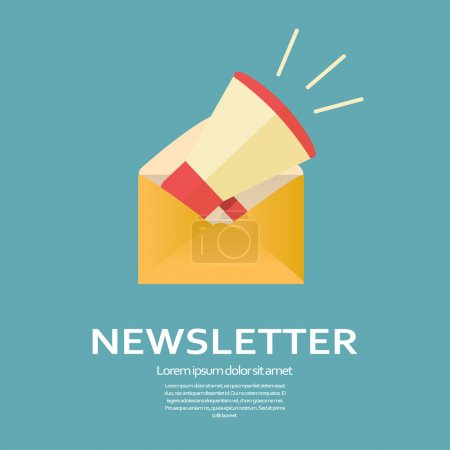 Newsletter flat design icon. Megaphone in an envelope for business e-mail template. Promotional announcement symbol.