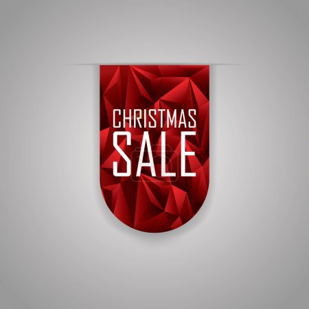Christmas sale ribbon element. Red polygonal background. Xmas sales promotional advertising tag.