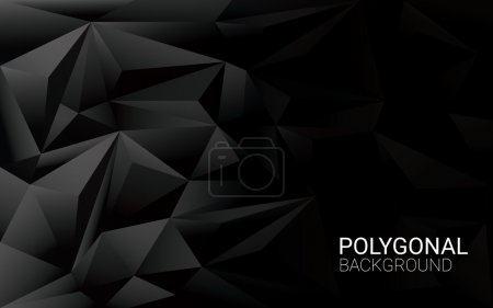 Illustration for Low poly black background. 3d polygonal vector wallpaper with space for text. Eps10 vector illustration - Royalty Free Image