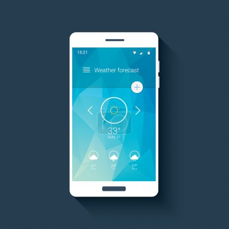 Illustration for Weather forecast ui for smartphone app. Mobile user interface template with line icons on low poly background. Eps10 vector illustration - Royalty Free Image