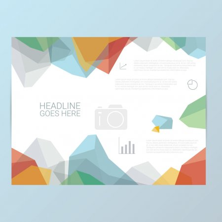 Report or brochure template. Abstract polygonal shapes background. Infographics icons for business presentation.