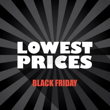 Black friday sales banner template with lowest prices message and long shadow typography on dark background.