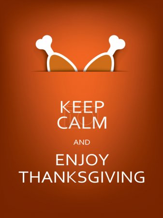 Funny thanksgiving card template with message. American holiday poster concept. Turkey legs symbol