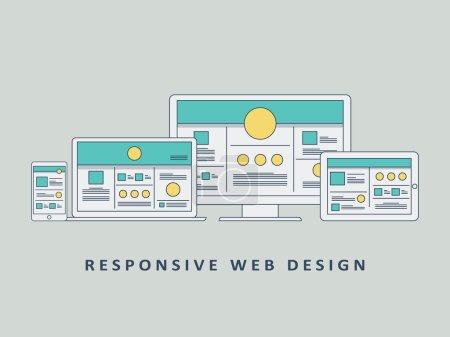 Responsive web design mockup template vector background. Smartphone, tablet, computer website layout.