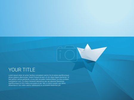 Low poly paper boat sailing away on polygonal sea surface vector background. Origami toy ship as a symbol of discovery, mission, freedom and voyage.