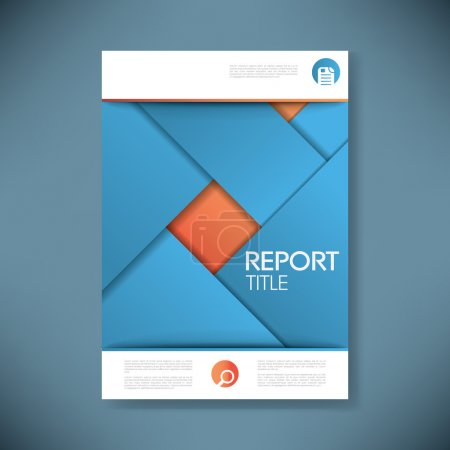 Report cover template for business presentation or brochure. Blue and orange material design style vector background.