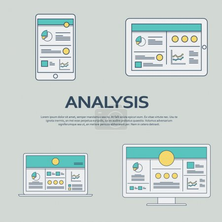 Business analysis background with smartphone and line art icons responsive design. Presentation graphs, charts on screen.
