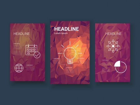 Low poly colorful background set with business charts, graphs, symbols. Presentation, brochure, infographics template. Geometric polygonal design.