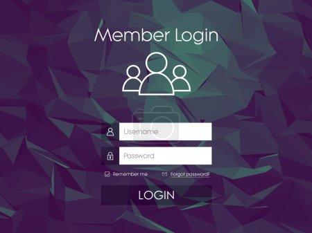 Menu formulaire de connexion avec des icônes de ligne simples. Faible fond poly. Élément de site web pour votre conception web .