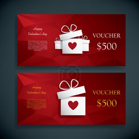 Valentines day gift card voucher template present and space for your text. Horizontal red low poly vector background.