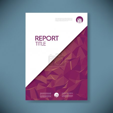 Business report cover with low poly design vector background. Paper document for company data presentation.