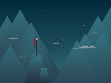 Man and mountains concept hiking, climbing or mountaineering. Person with backpack at night on top of peaks.