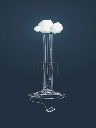 Cloud computing concept illustration with low poly clouds and smartphone connected. Data storage infrastructure.