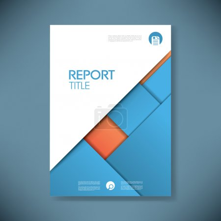 Business report cover template on blue material design background. Brochure or presentation title page.