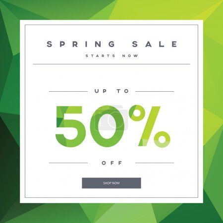 Illustration for Spring sales banner on green low poly background with elegant typography for luxury sales offers in fashion. Modern simple, minimalistic design. Eps10 vector illustration - Royalty Free Image