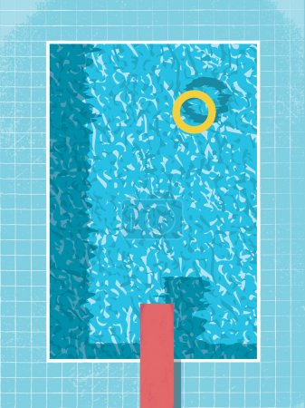Swimming pool top view with inflatable ring preserver and red jump. 80s style vintage graphic design on grunge background.