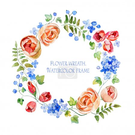 Photo for Frame of flowers and some floral elements. Gentle, soft Illustration for greeting cards. - Royalty Free Image
