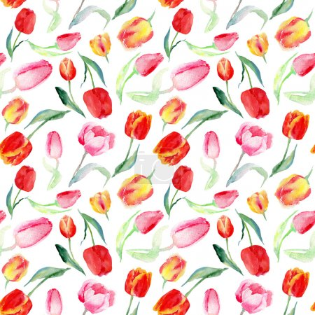 Seamless pattern of watercolor pink, red and yellow tulips.