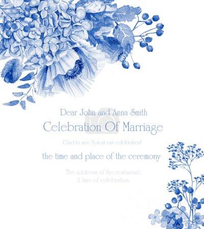 Foto de Amapolas azules e hortensias. Color monocromo. Fondo para el texto. Adecuado para el fondo para la boda, cumpleaños y así sucesivamente. - Imagen libre de derechos