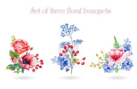 Set of watercolor floral bouquets for design.