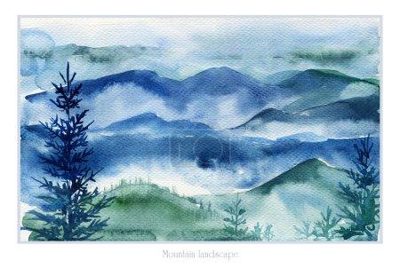 Photo pour Image d'un jour nuageux et pluvieux. Ambiance sombre des montagnes. Croquis aquarelle . - image libre de droit
