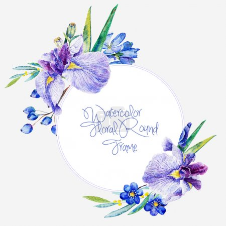 Photo for Watercolor wreath. Can be used as a greeting card  or any other design. - Royalty Free Image