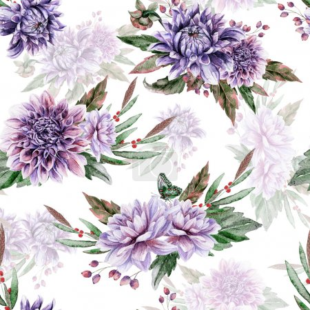 Seamless pattern with lilac dahlia.