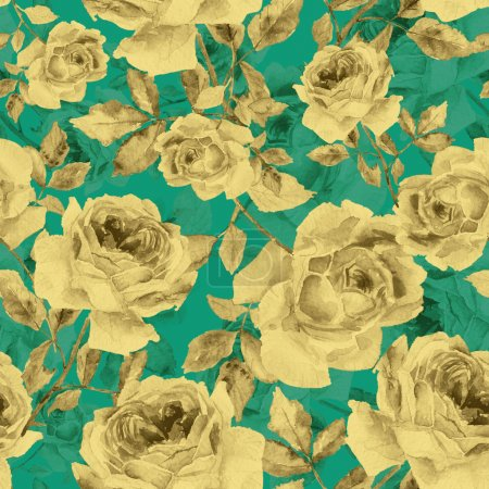 Seamless pattern of watercolor yellow roses on turquoise backgro