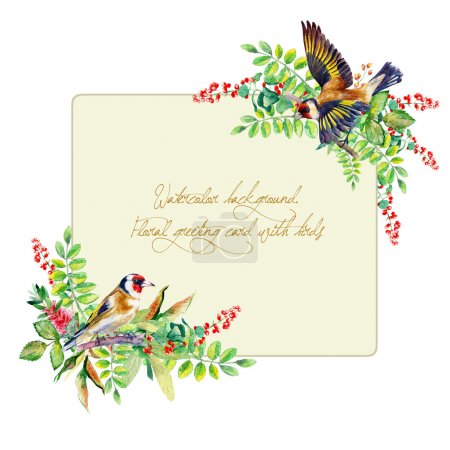 Frame of colorful watercolor  goldfinch and some leaves, berries