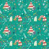 Seamless Christmas pattern with cartoon granny and dog Christmas tree