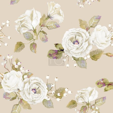 Seamless pattern of vector watercolor white  roses.