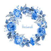 Vector round frame of blue watercolor roses and berries