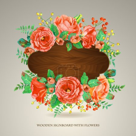 Vector  frame of red watercolor roses and berries on wooden background