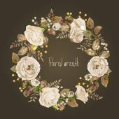Vector round frame of white watercolor roses and berries