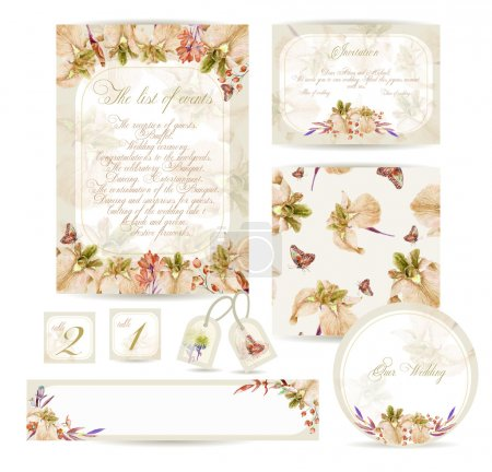 Illustration for Watercolor yellow irises, cornflower, berry. Invitation card, letterhead, numbering for tables, banner and other different elements. Vintage design - Royalty Free Image