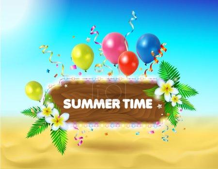 Vector summer background. Illustration of summer beach.