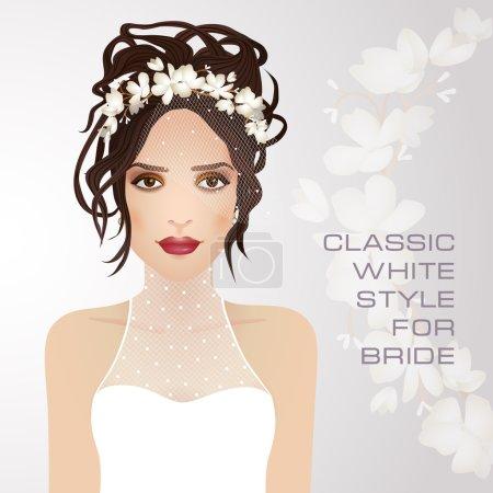 Illustration pour Style blanc classique pour mariée. Belle brune avec couronne sur la tête. Coiffure de mariage . - image libre de droit