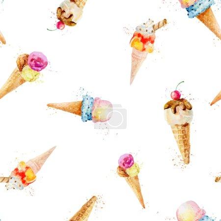 Illustration pour Aquarelle avec peinture par pulvérisation. Délicieuse crème glacée aux saveurs différentes. Illustration vectorielle - image libre de droit