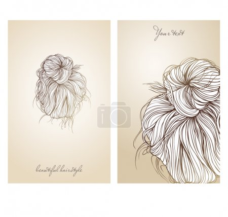 Vector illustration of  beautiful female hairstyle.