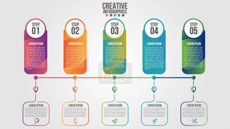Photo for Infographic modern timeline design vector template for business with 5 steps or options illustrate a strategy. Can be used for workflow layout, diagram, annual report, web design, team work. - Royalty Free Image