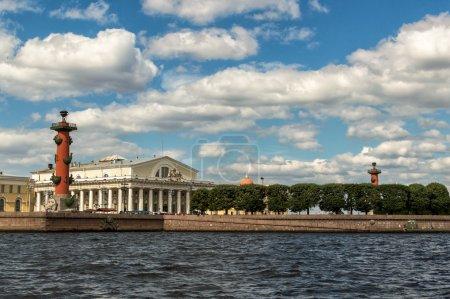 Saint Petersburg, Russia, Arrow Vasilevsky Island, Rostral Columns, old Exchange building. View from the Neva River.