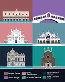 Venice tourist attractions icons set