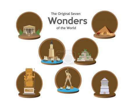 seven world wonders icons set