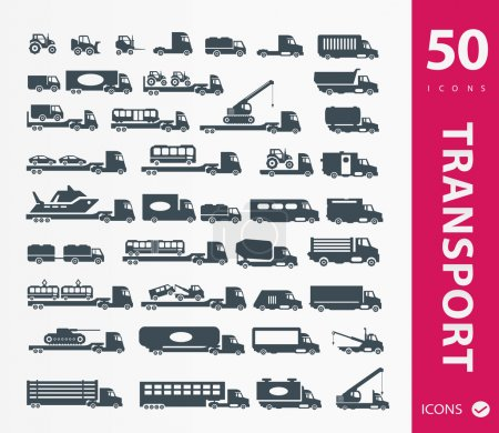 Illustration for Vector illustration of Transportation icons - Royalty Free Image