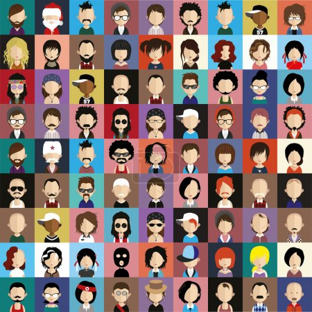 Illustration for Vector illustration of set of avatar icons - Royalty Free Image