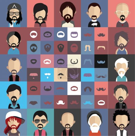 Illustration for Collection of mustache with face - Royalty Free Image